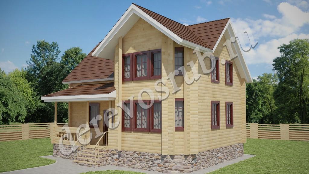 Дом из бруса 7,2 х 9 м.