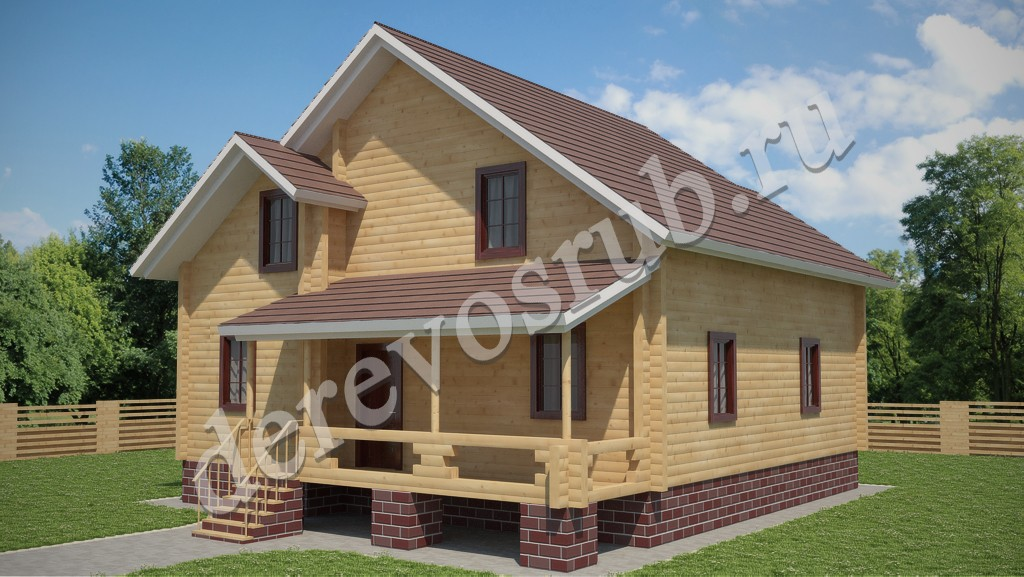 Дом из бруса 7,5 х 8,2 м.